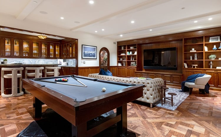 Entertainment room of an ultra-luxurious villa on N. Roxbury Drive.