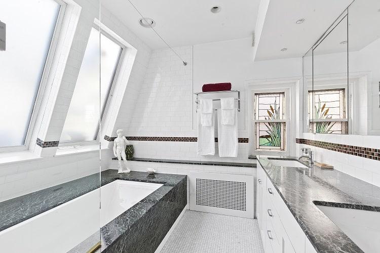 bathroom with skylight in brooklyn townhouse