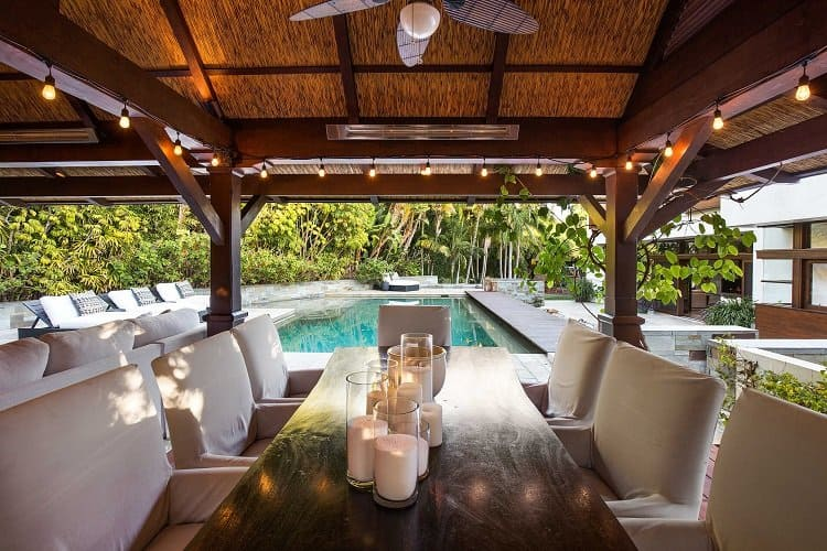 outdoor lounge and alfresco dining area in matt damon's $21 million house